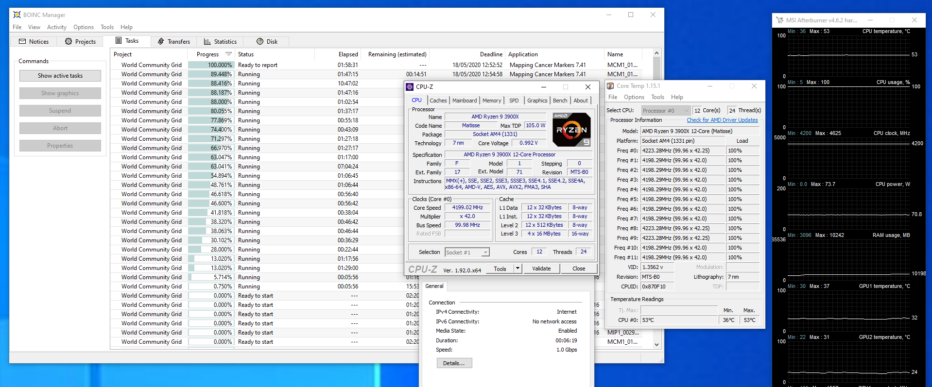 11-05-20 3900X Vcore Test - 1.00v After bios update 1201.PNG