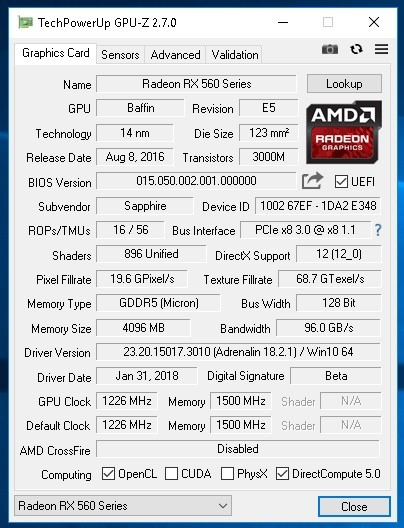 RX 560(but it's Baffin) flashed BIOS | Page 2 | TechPowerUp