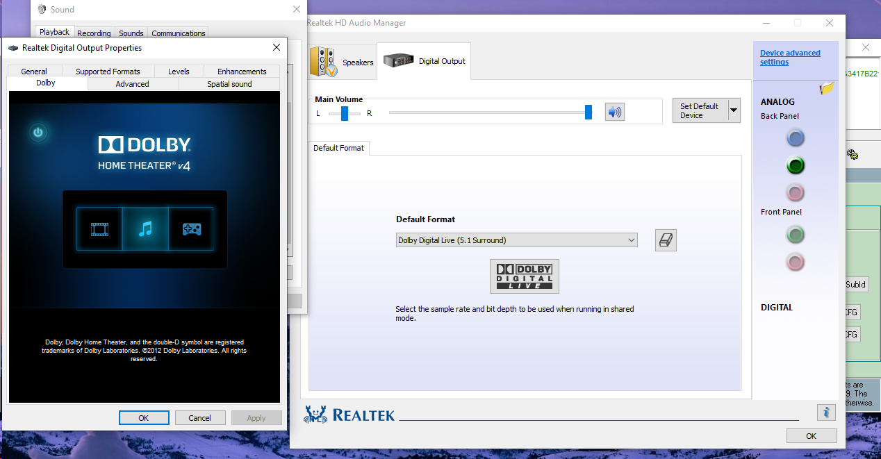 Unlocked Realtek HD Audio Drivers for Windows 10 (Dolby