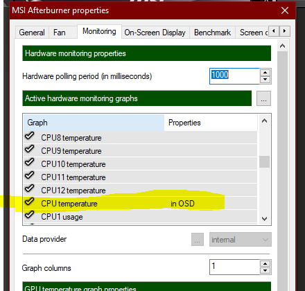 How to show the actual CPU temp (as in AIDA) in afterburner OSD