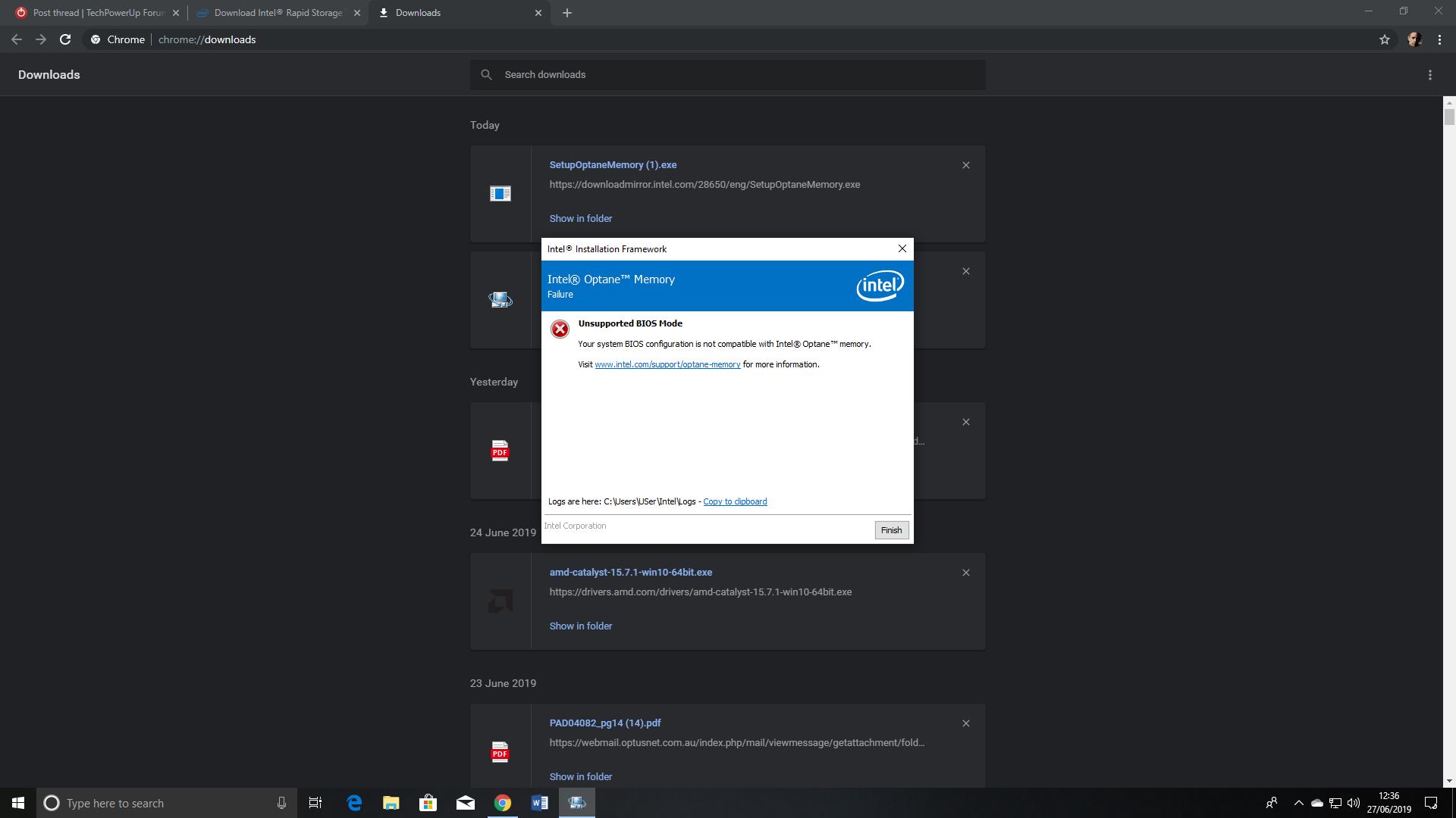 Intel Optane memory not configuring  | TechPowerUp Forums