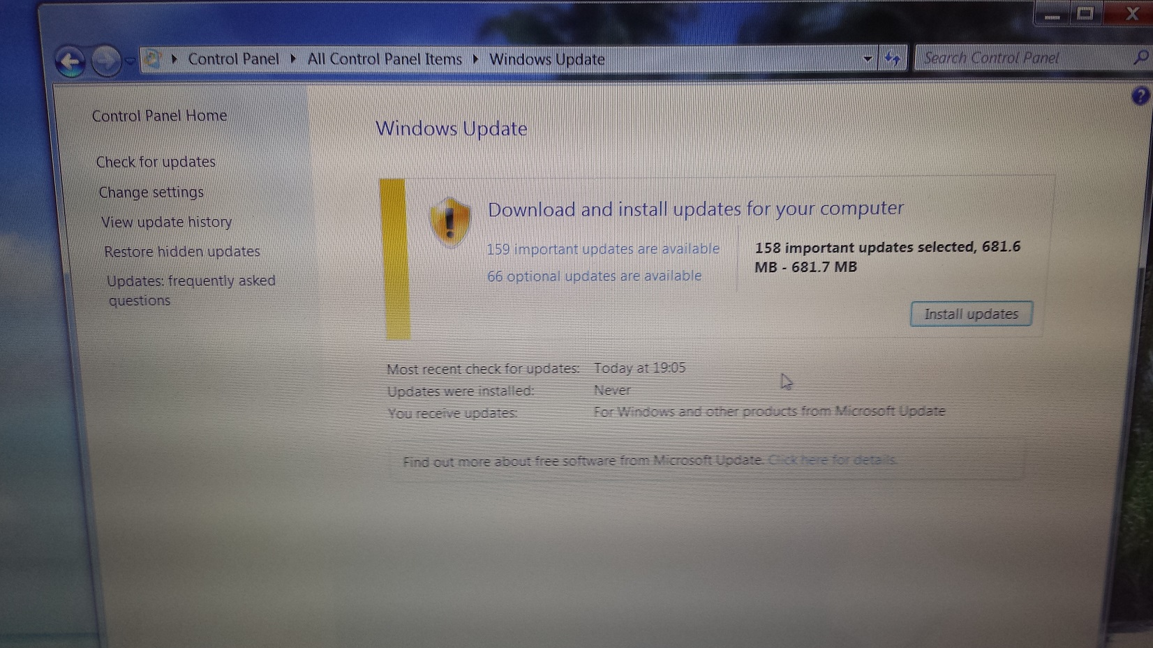 FIXED!! Windows 7 sp1 never ends searching for updates
