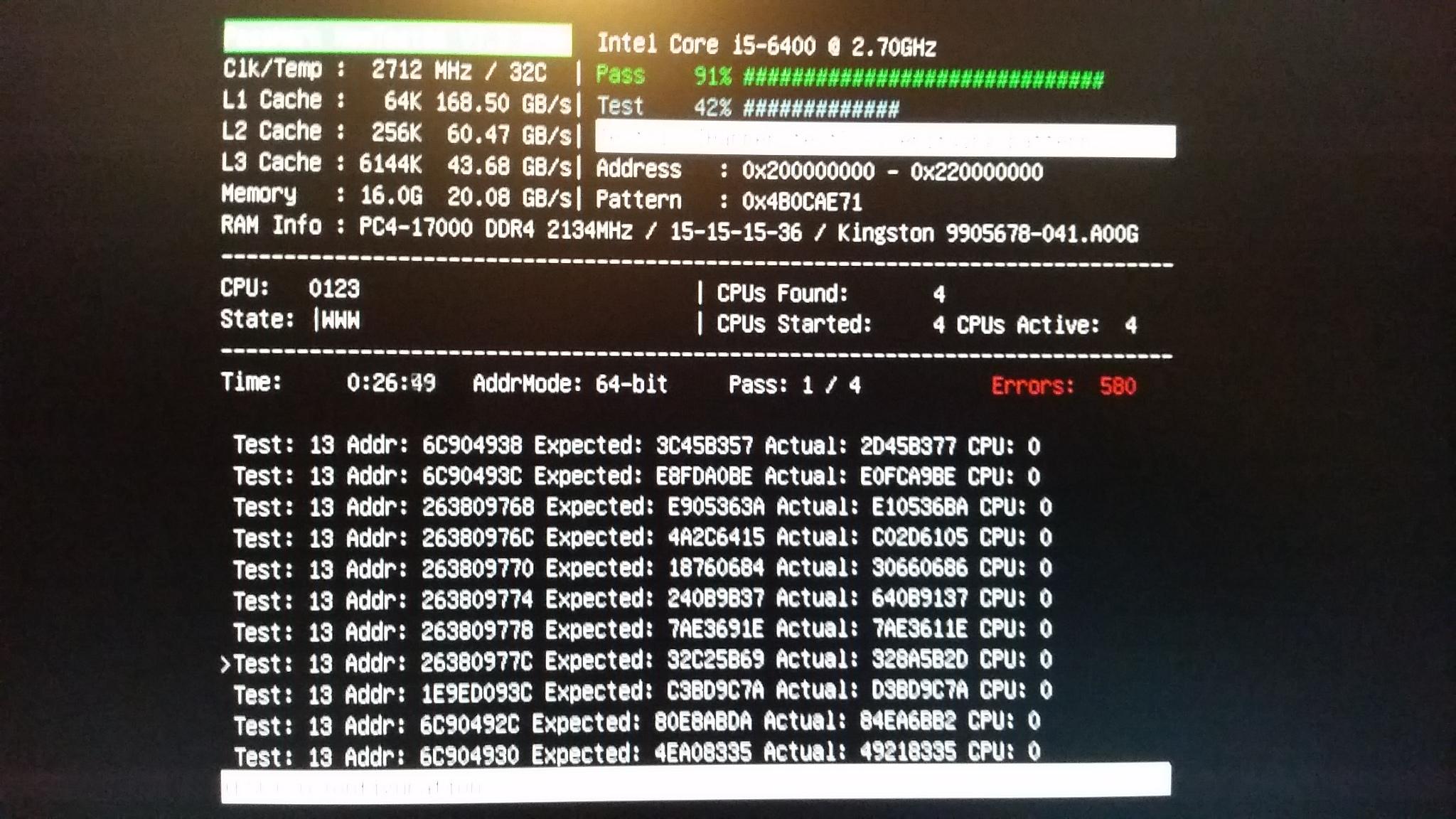 Memtest giving 500+ errors! Plus, memory_management bsod
