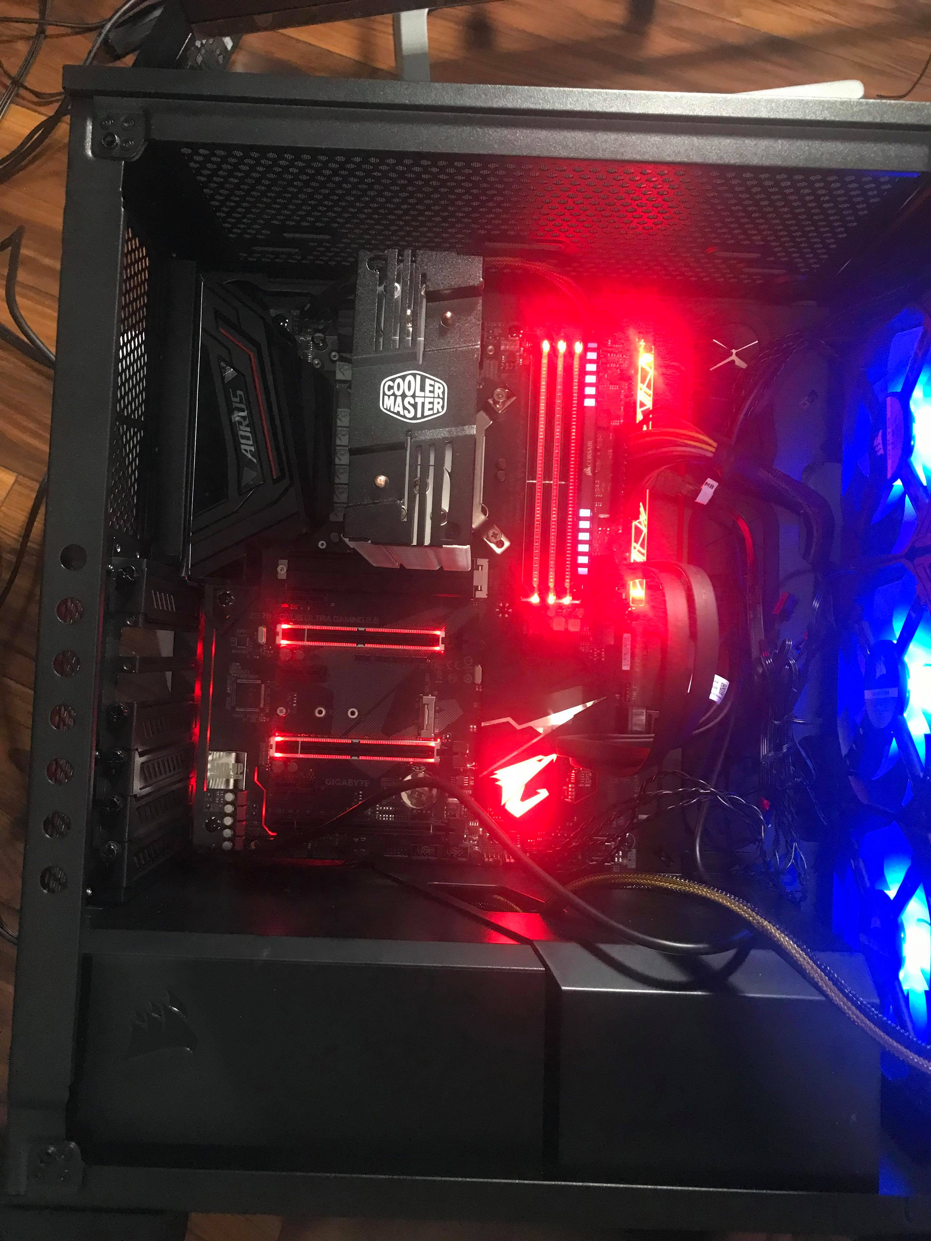 New PC builder not turning on, all red light z370 aorus ultra gaming