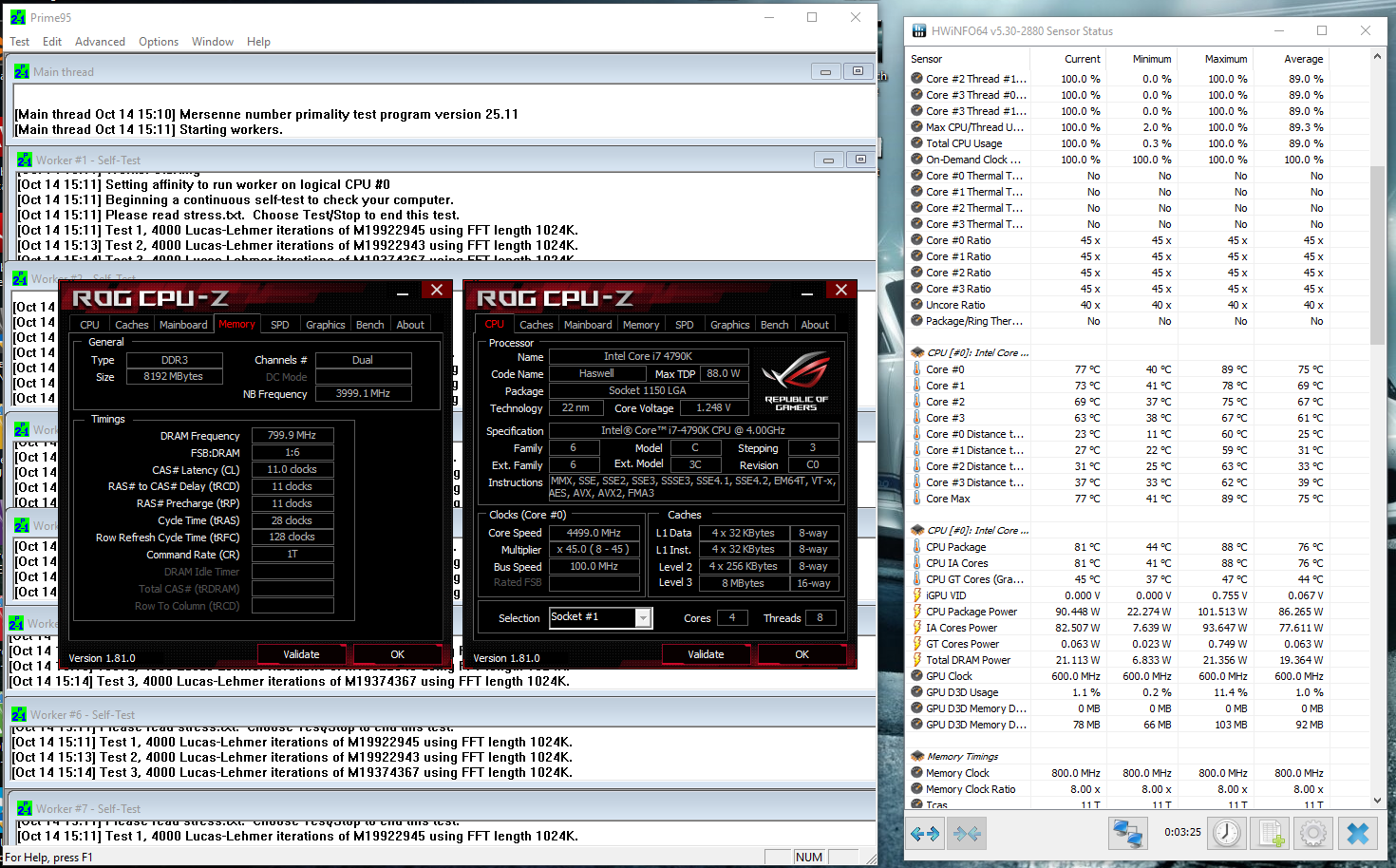 Intel Core i7 4790K reaching 90C, When overclocks  Need Help