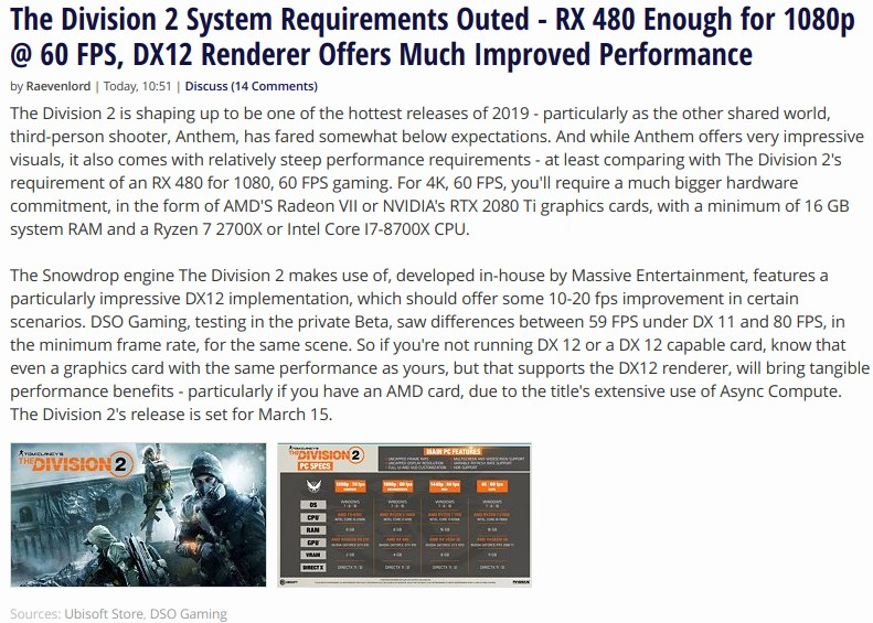 The Division 2 System Requirements Outed - RX 480 Enough for