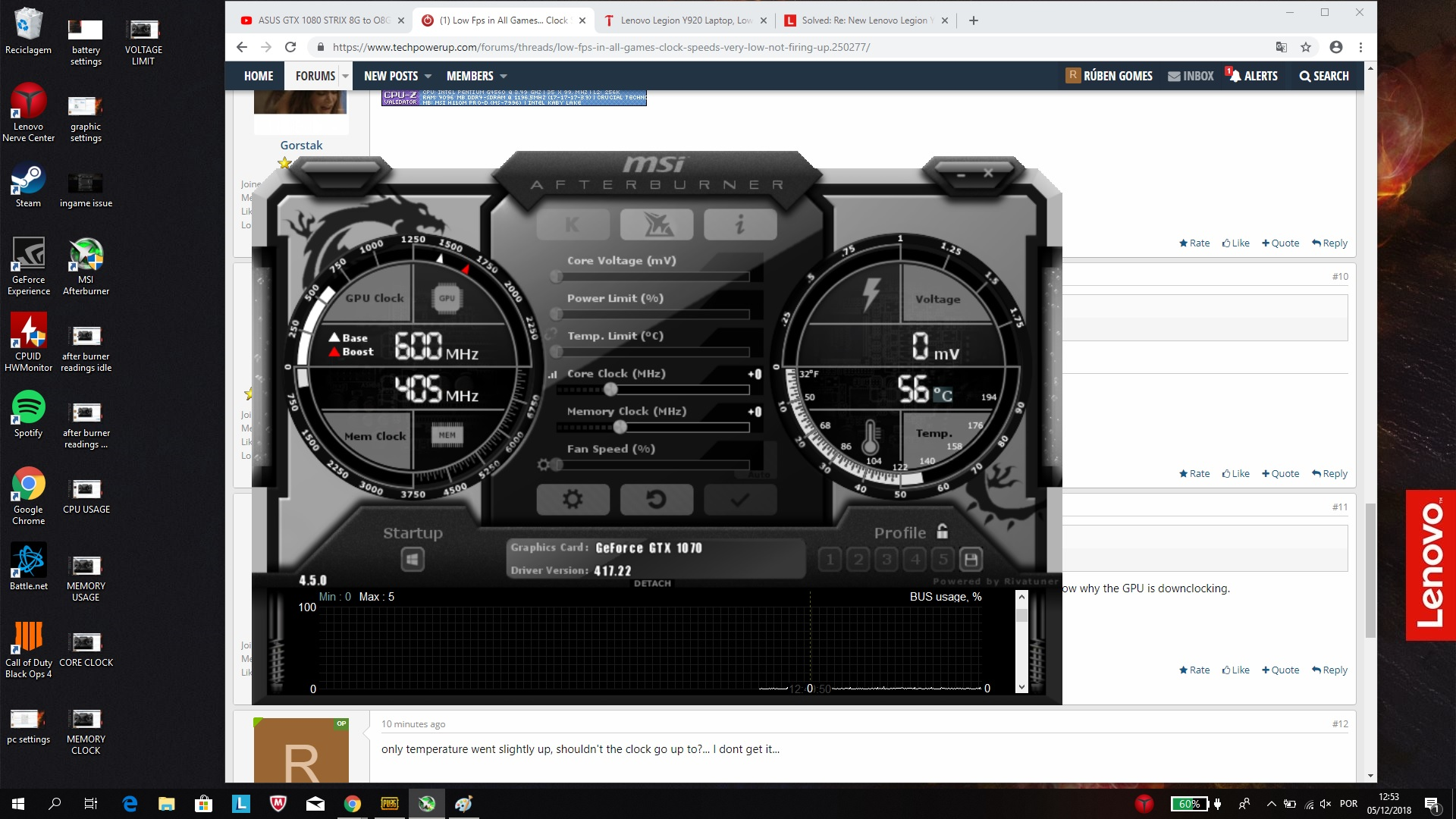 Low Fps in All Games    Clock Speeds very low, not firing up