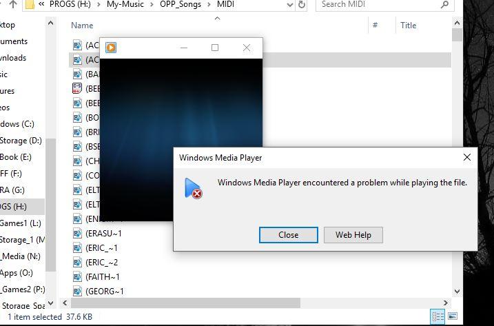 MIDI out won't play MIDI files in Windows 10 Pro64bit version 1803