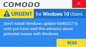 Comodo firewall update problem