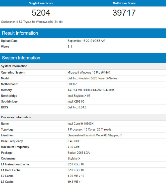 Mickey: Intel Core i9-10900X in Geekbench [​IMG]