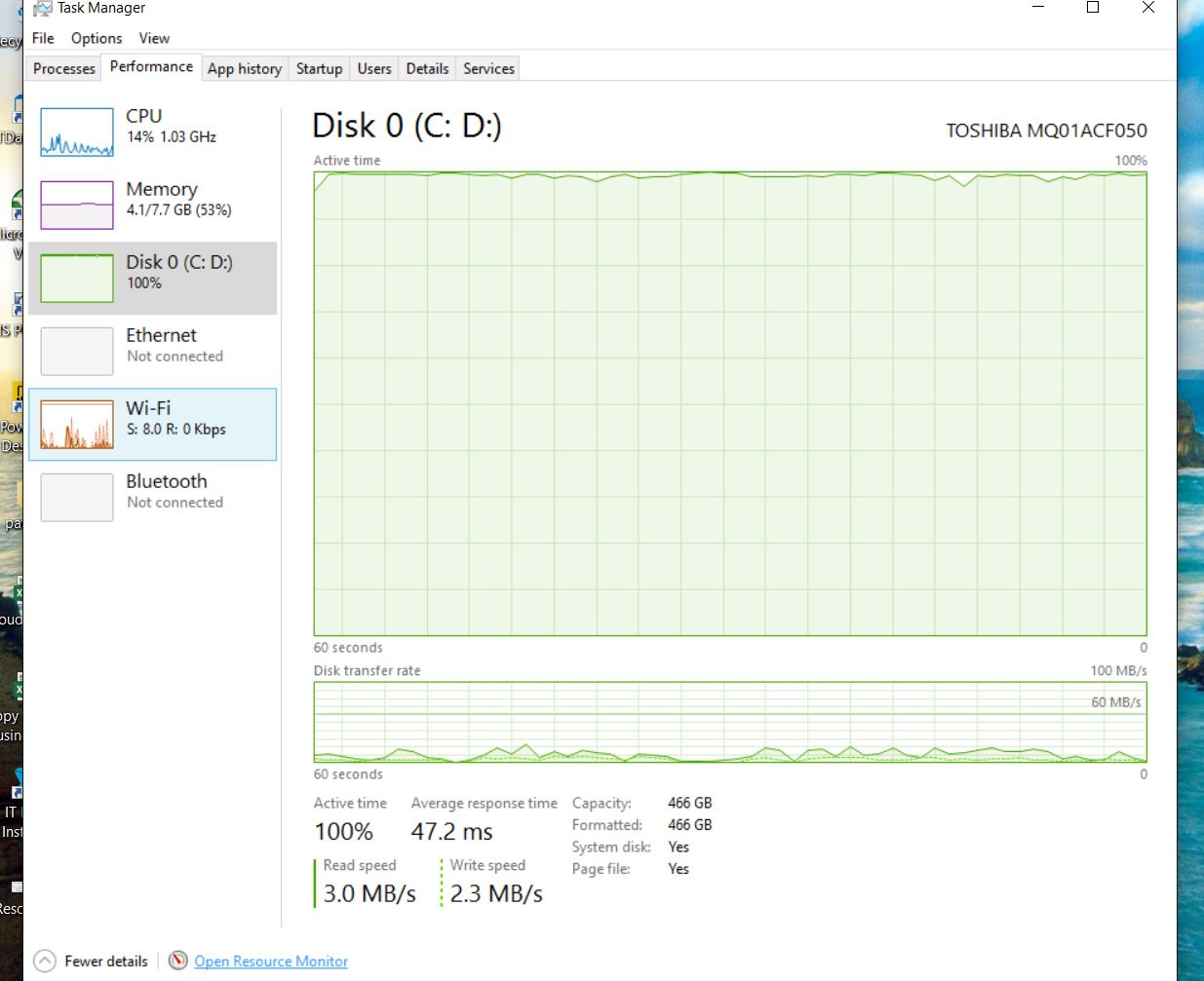 why is disk always at 100