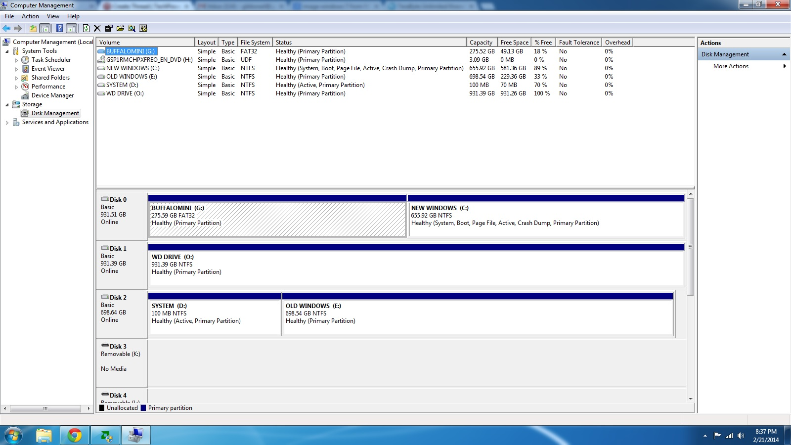 Move Win7 64 image from a partition NTFS to a new drive