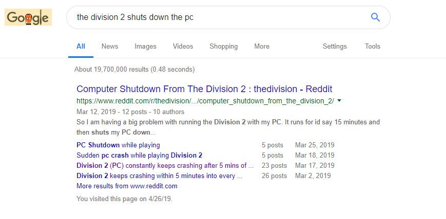 PC shuts off when playing Division 2 | TechPowerUp Forums