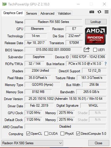 Sapphire RX 580 Nitro+ 8GB BIOS | TechPowerUp Forums