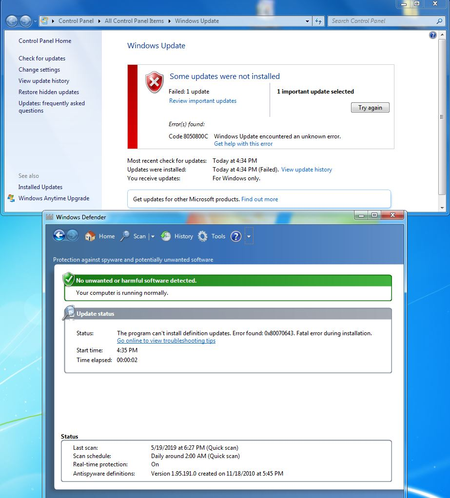 Windows Defender definition update failed: Windows 7 64bit