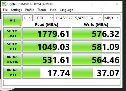 Intel 600p 512GB My Drive Speed Test.JPG