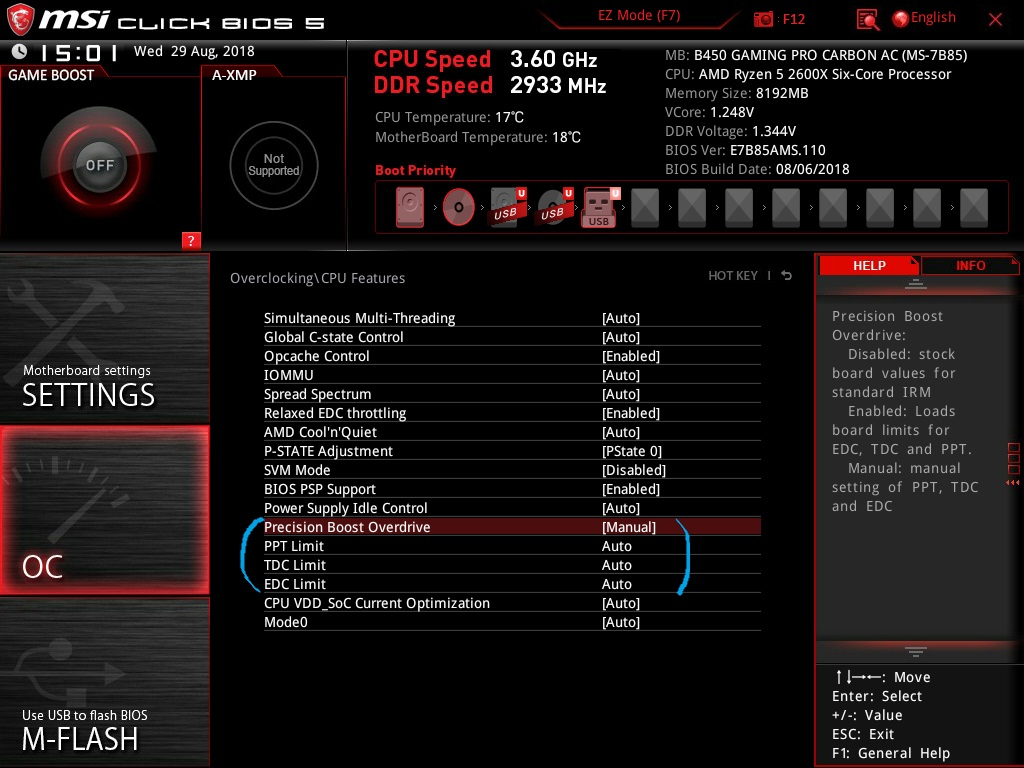 B450 MSI Gaming Pro Carbon AC + R5 2600X | TechPowerUp Forums
