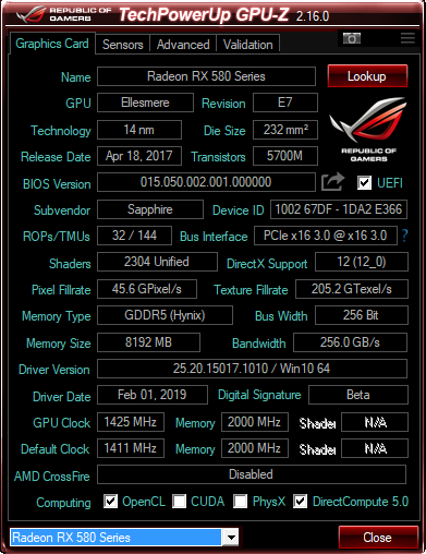 Flashing the best bios Sapphire rx580 NItro + | TechPowerUp