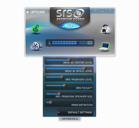 srs premium sound control panel windows 10