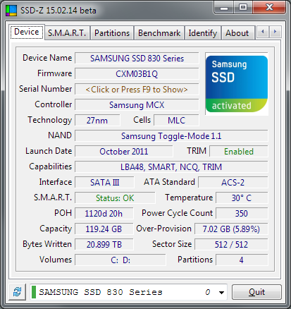 SSD-Z: Information tool for Solid State Drives and other disk