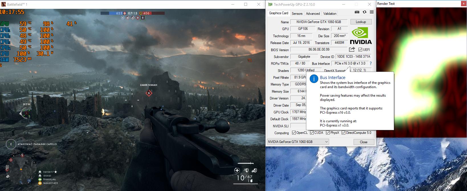 GIGABYTE GTX 1060 WindForce 2X OC running at 1x PCI E speed