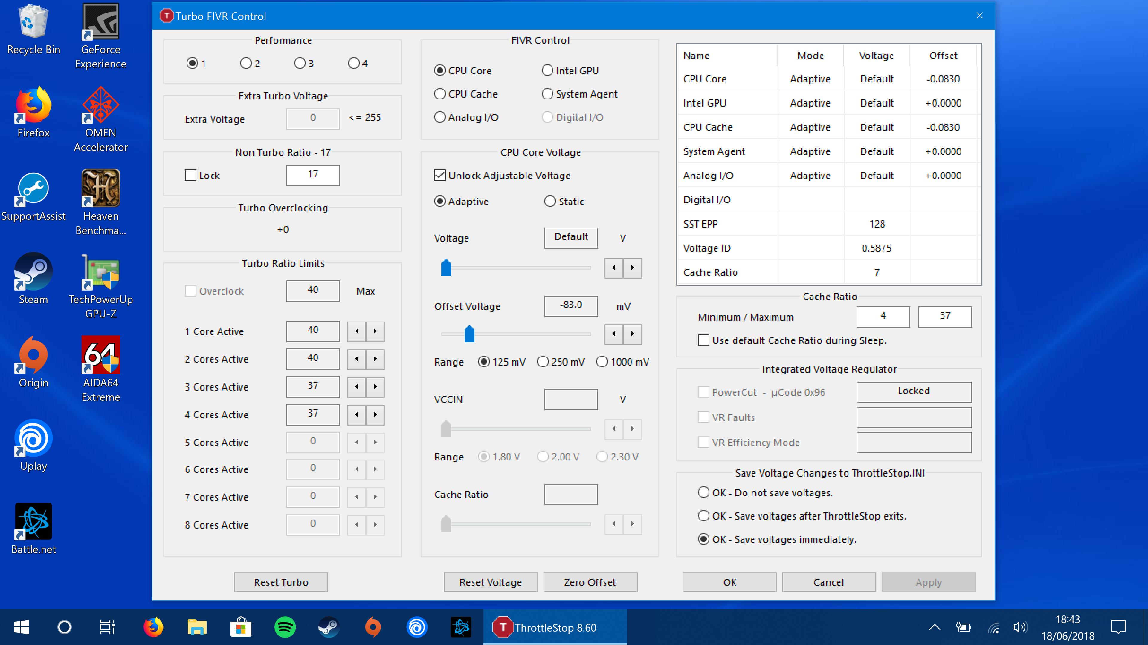 Throttlestop 8 60 FIVR undervolt settings not applying