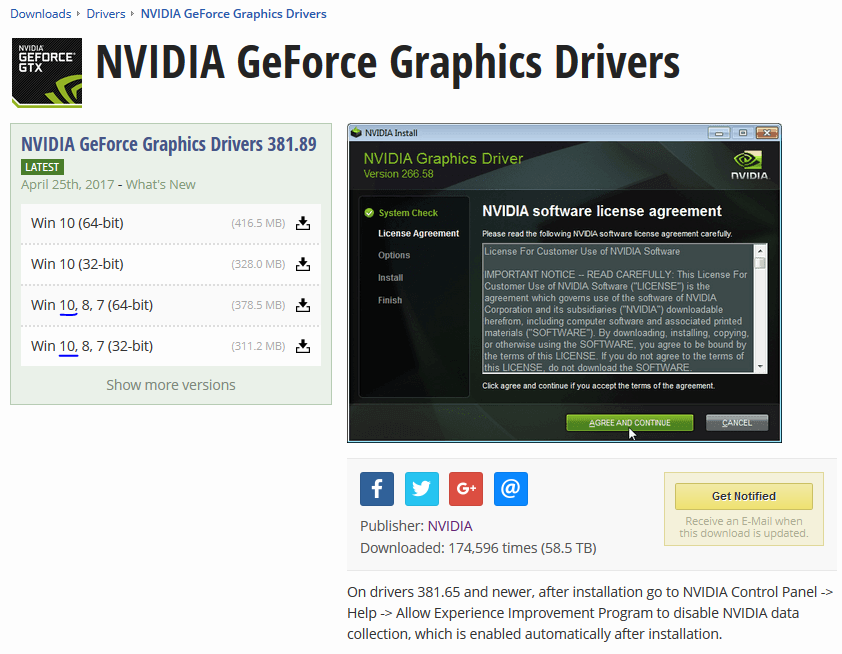 GeForce driver download page shows incorrect windows version