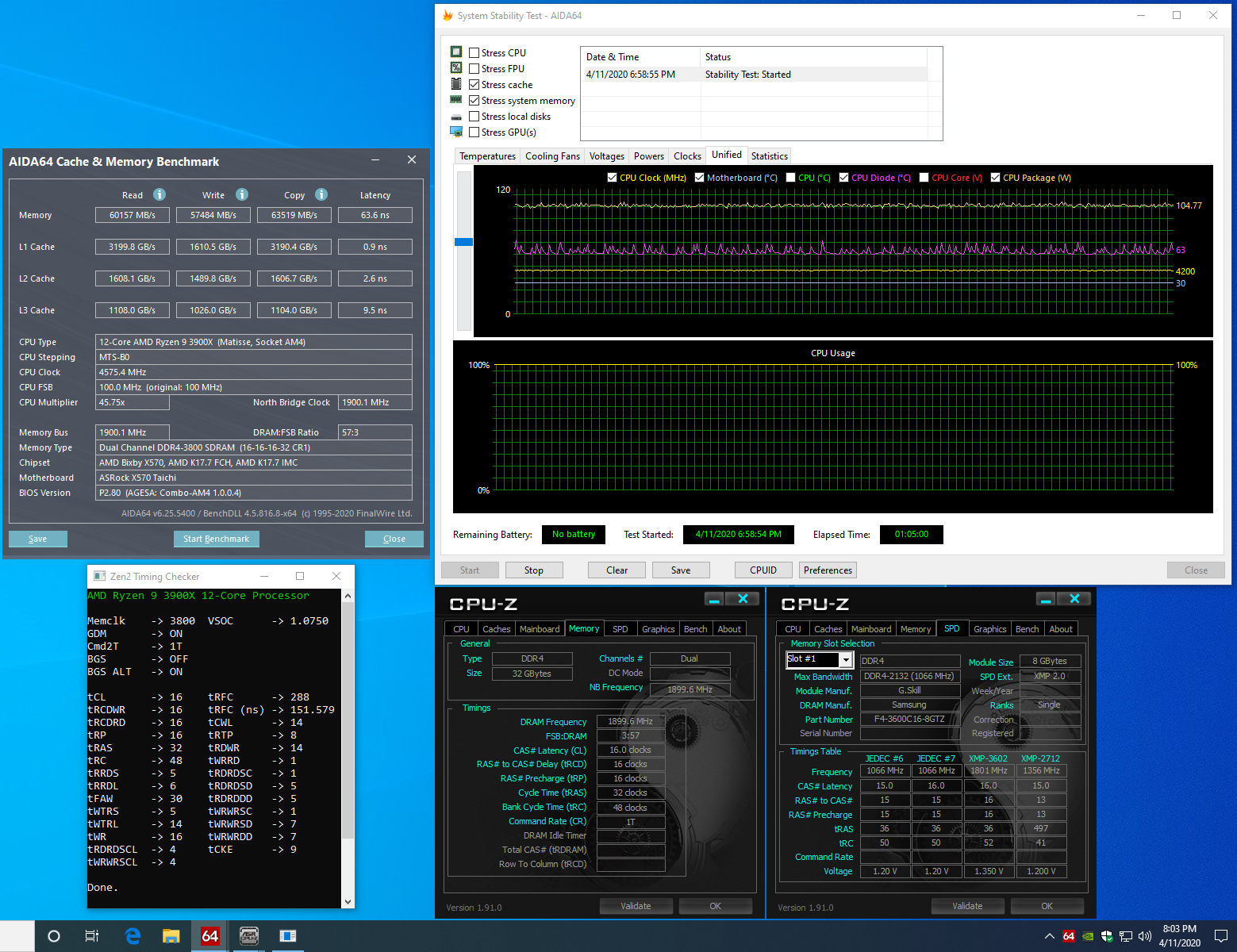 X570 Taichi 3900X 3800C16 AIDA64 mem-cache stress.PNG