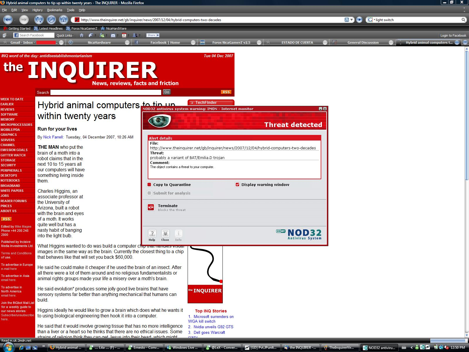 The Inquirer  il sito preso di mira da un virus