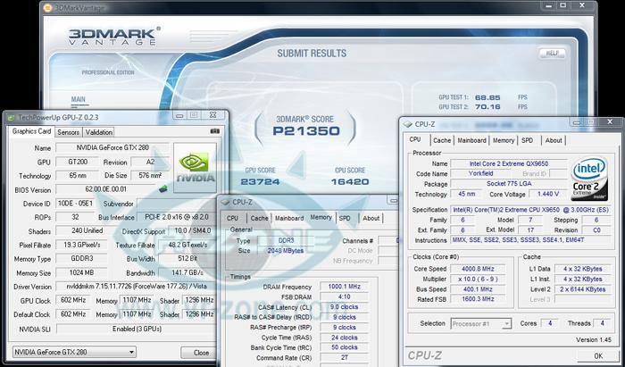 Nvidia GTX 280 3way-SLI e 3dMark Vantage