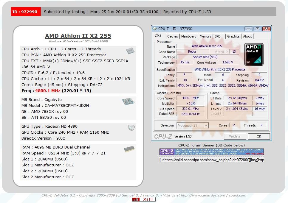 Athlon Ii X2 255 Reaches 4 80 Ghz Techpowerup