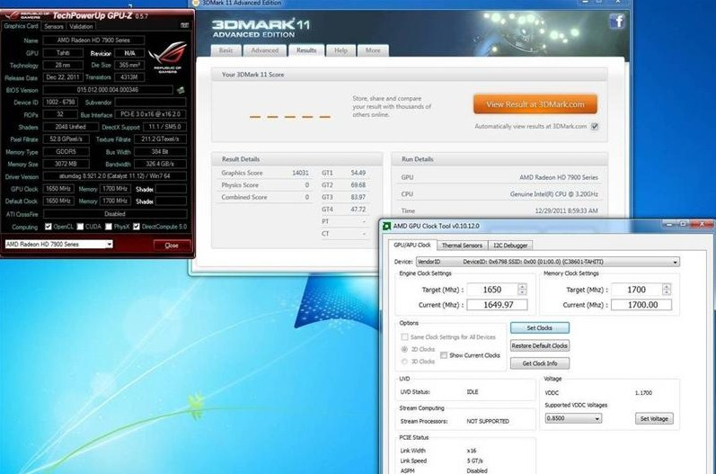AMD Radeon HD 7970 Overclocked to 1 70 GHz Core, 8 00 GHz Memory