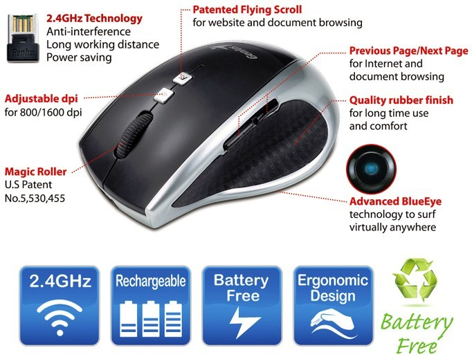 Genius DX-ECO - World's First Battery Free Wireless Mouse, Now