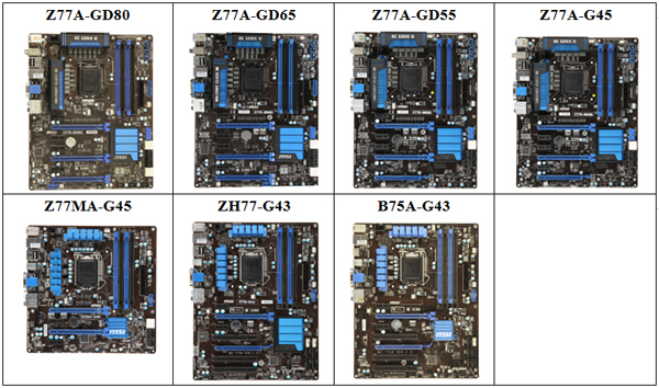 MSI Unveils its Complete Line of Intel Z77/H77/B75
