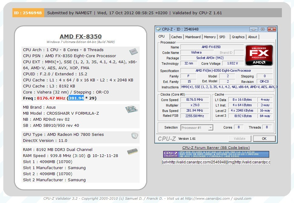 AMD FX-8350 Overclocked to 8 176 GHz with 8 Cores Enabled