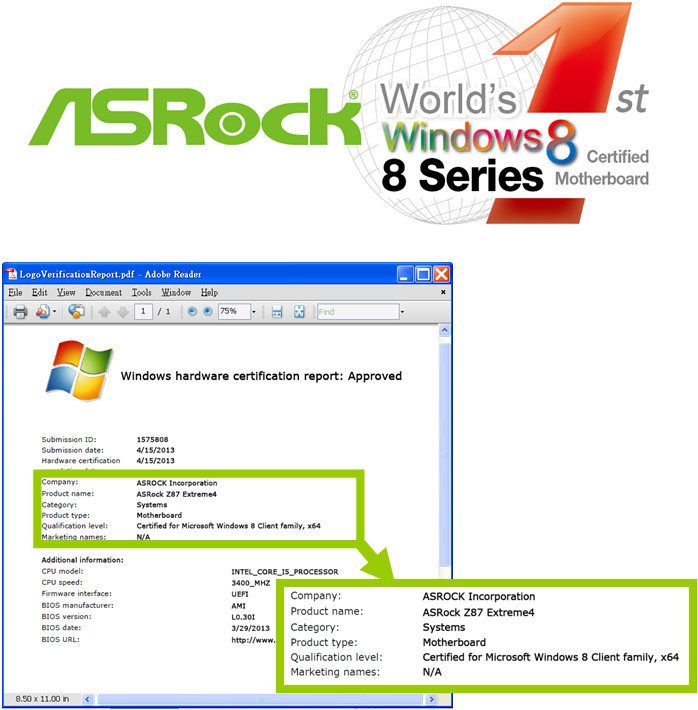 ASRock Z87-Extreme4 First Windows 8 Certified 8-series Motherboard