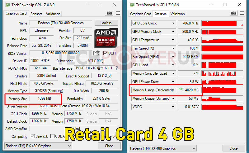 AMD Retail Radeon RX 480 4GB to 8GB Memory Unlock Mod Works, We