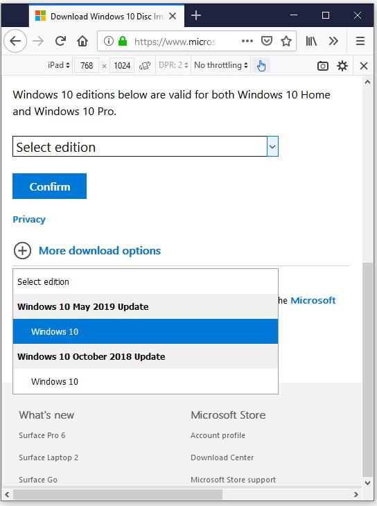 PSA: How to Download the Windows 10 1903 ISO from MS, without the