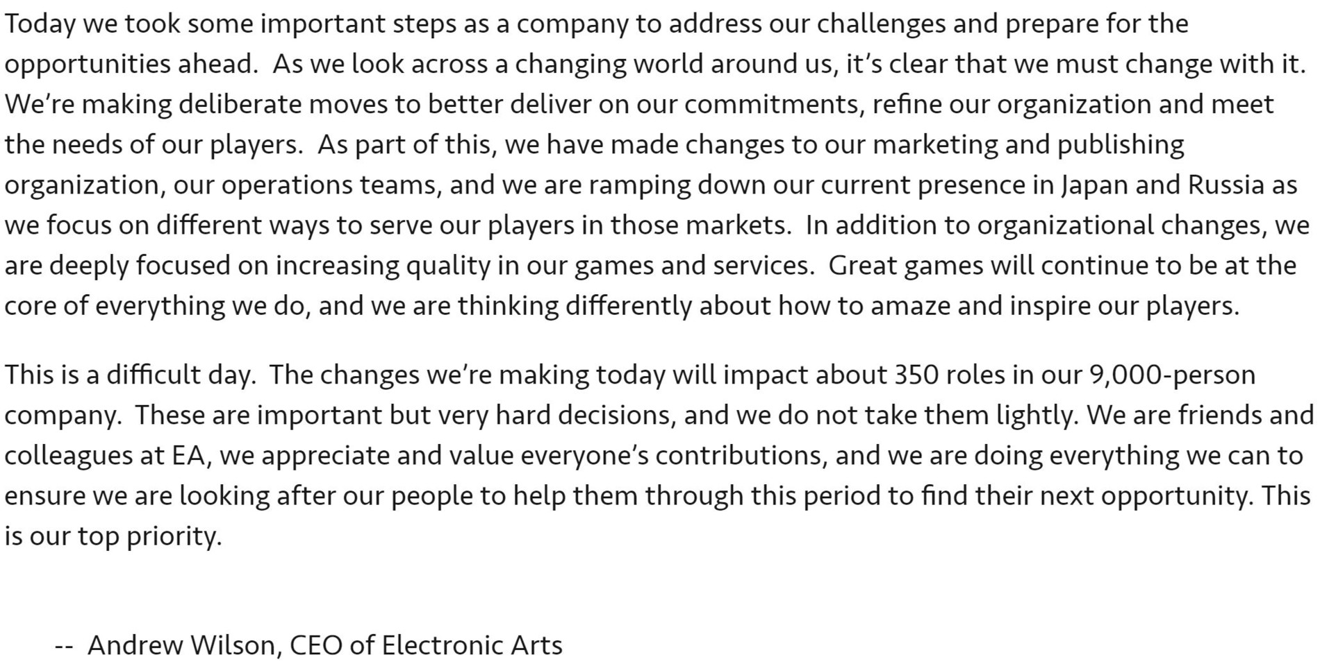 Electronic Arts Lets Go of 350 Employees Amidst Internal