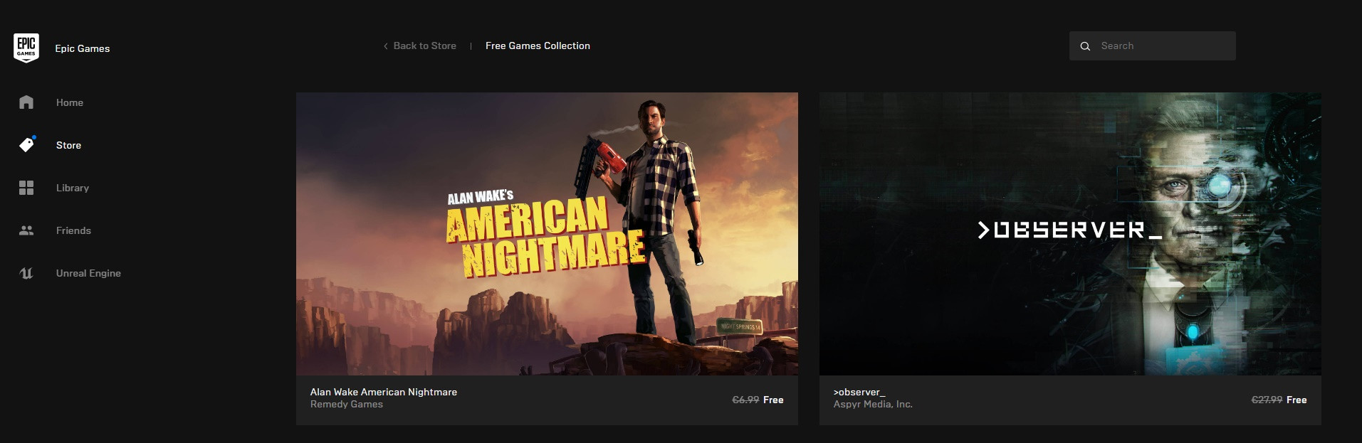 Free Game Alert Observer And Alan Wake S American Nightmare Free In The Epic Games Store Halloween Sale Launched Techpowerup