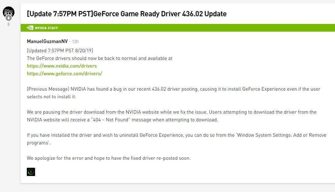 NVIDIA Fixes GeForce 436 02 Installer, No Longer Forces