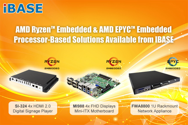 IBASE Announces Embedded Devices with EPYC 3000 and Ryzen Embedded