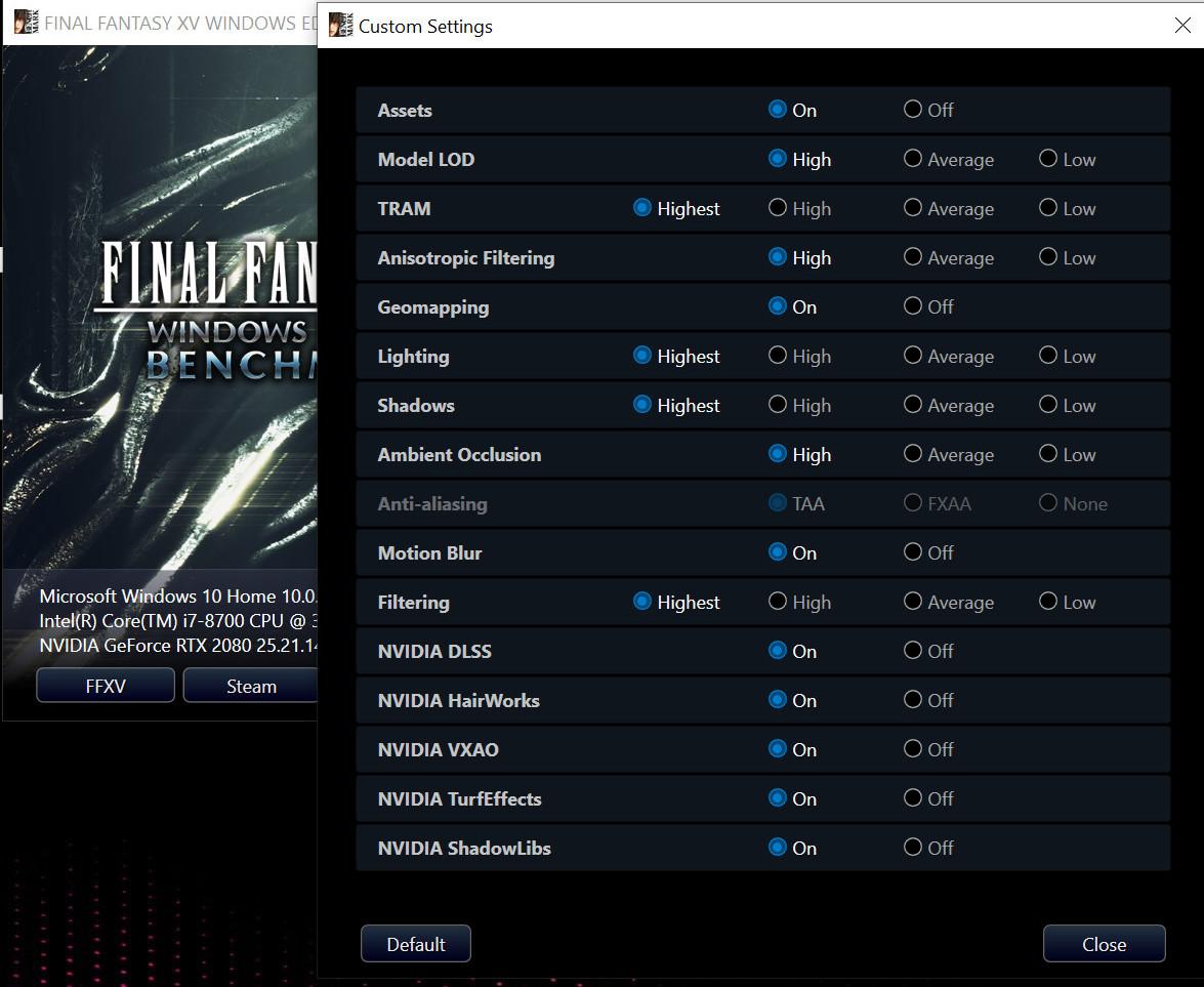 Final Fantasy XV Benchmark Gets DLSS Update, GeForce RTX 2080