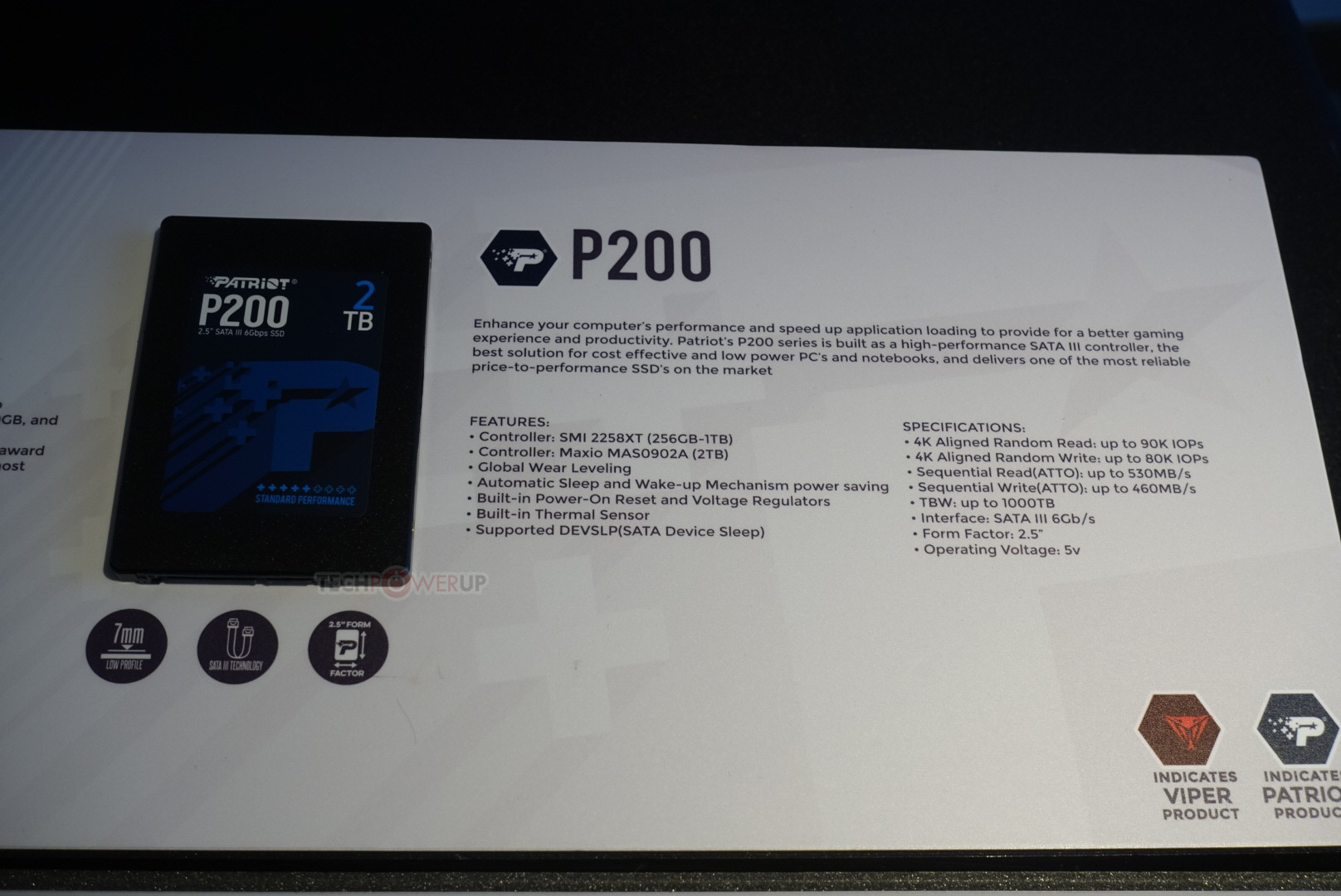 Patriot Also Shows Off Burst and P200 SATA SSDs | TechPowerUp