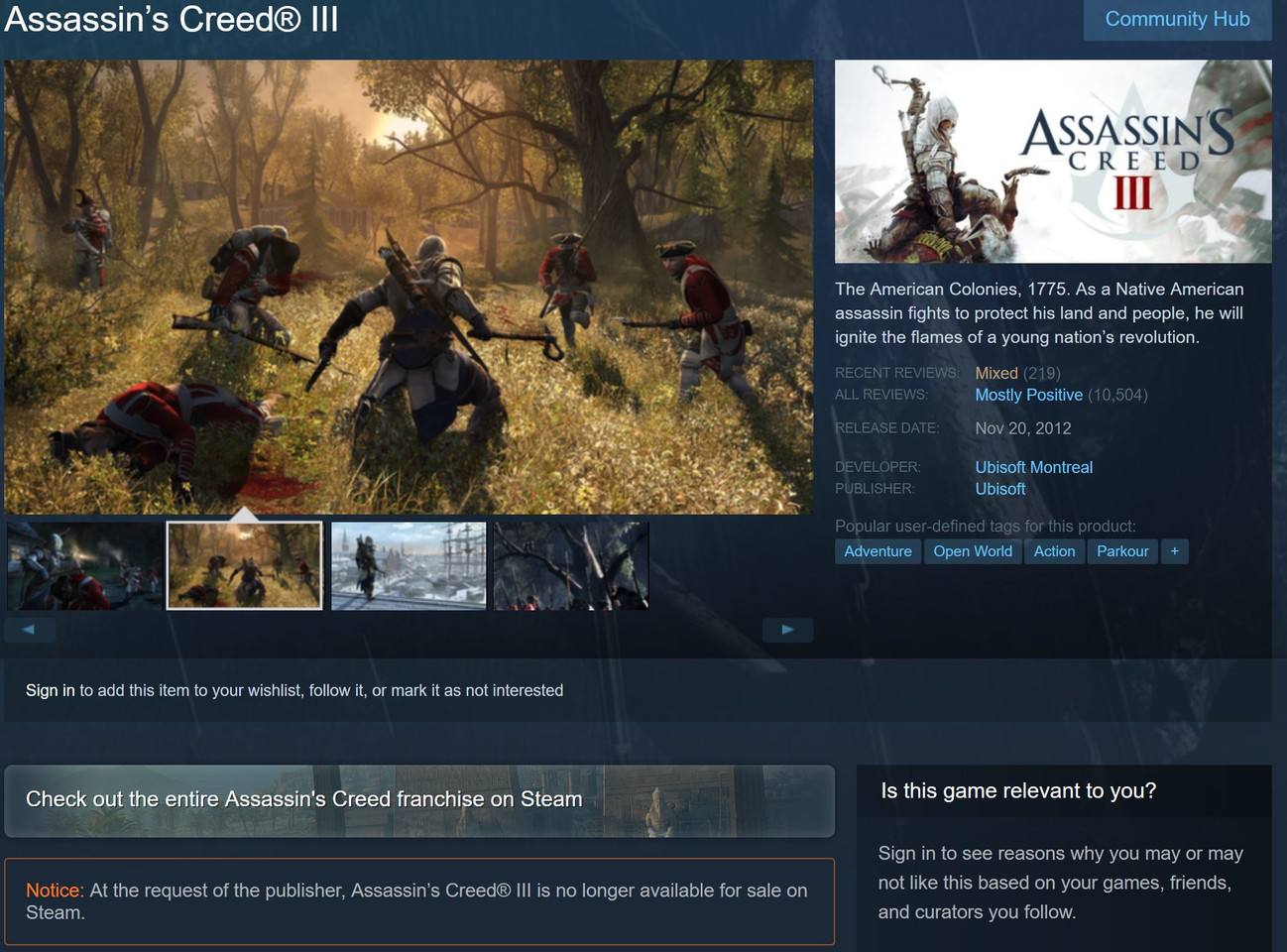 Ubisoft Removes Assassin S Creed Iii From Uplay And Steam In Favor Of Ac3 Remaster Techpowerup
