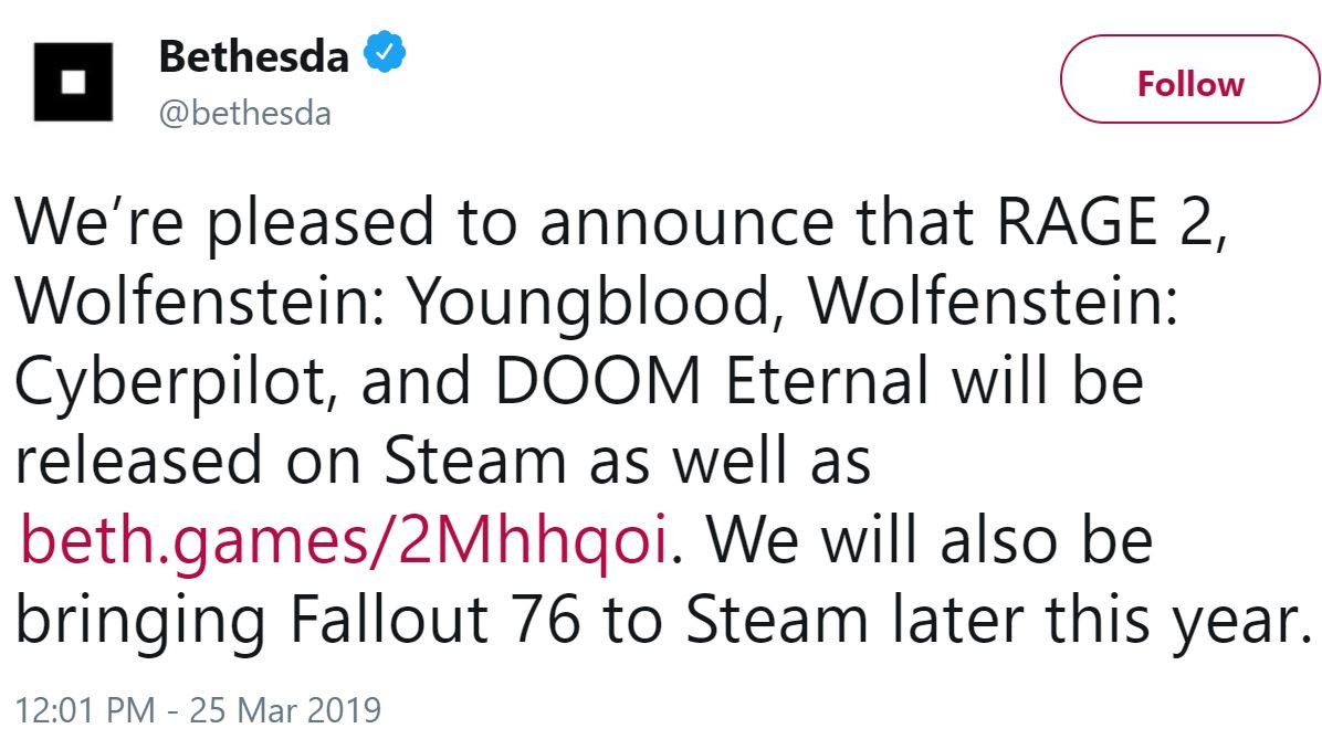 Bethesda Bringing Fallout 76, Rage 2, Doom Eternal, and Wolfenstein