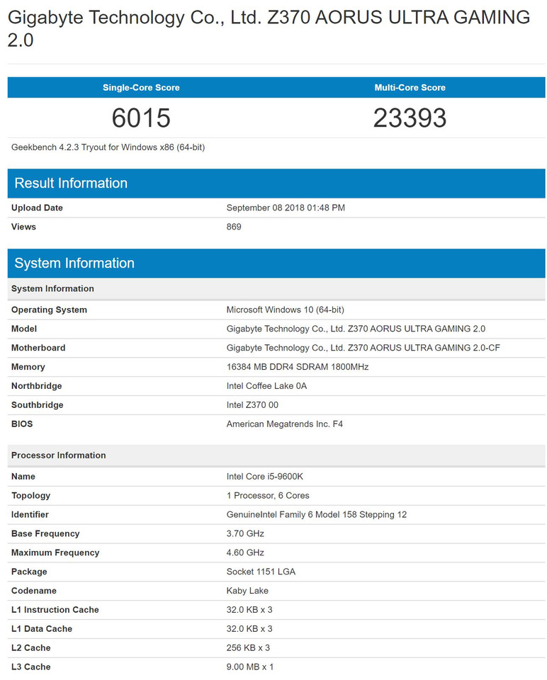 Intel Core i5-9600K Surfaces on GeekBench Database | TechPowerUp