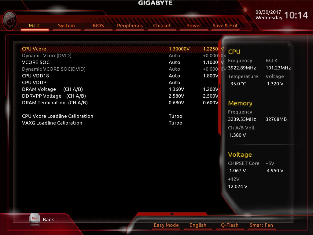 Can't find Vcore voltage setting in Gigabyte Aorus x470 5 WIFI Bios