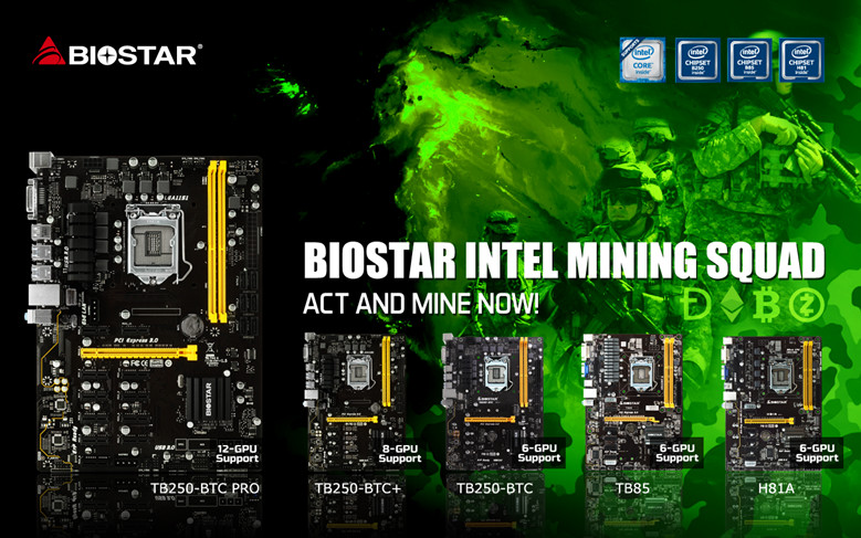 BIOSTAR Offers Intel Crypto Mining Motherboards - Full ethOS