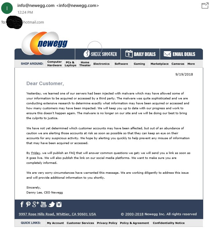 Newegg Compromised By Magecart Assault Potential Data Theft For